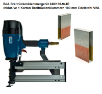 BeA Breitrückenklammergerät 246/130-944E inkl. 1 Karton Edelstahl Klammern 100 mm