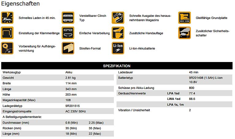 Bostitch-DatenblattDSA3522