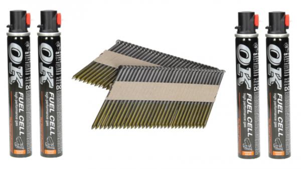 Streifennägel 34° 80 x 3,1 mm glatt/verzinkt 12my ( 2.000 Stück ) inkl. Brennstoffpacks ( 2 Stück )