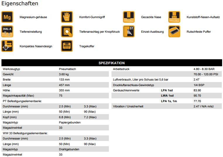 BostitchDatenblattStreifennaglerF33PT-ElangesMagazin