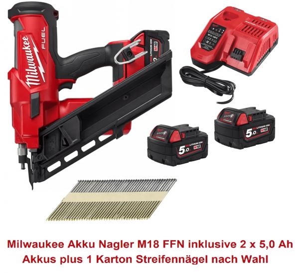 Milwaukee Akku Nagler M18 FFN inklusive 2 x 5,0 Ah Akkus + 1 Karton Streifennägel nach Wahl