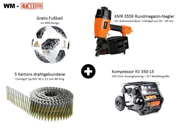 KMR Coilnagler 3559 + Kompressor KV 350-15 + 5 Karton Coilnägel 90x3,1 mm Galv Ring + Gratis Fußball
