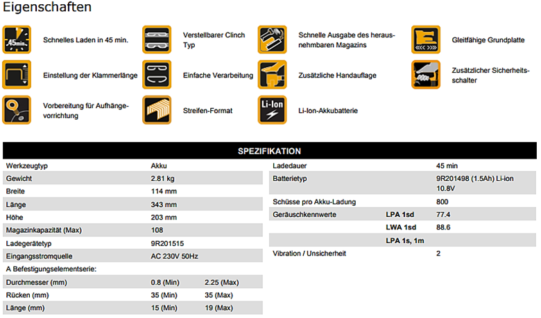 Bostitch-DatenblattDSA3519