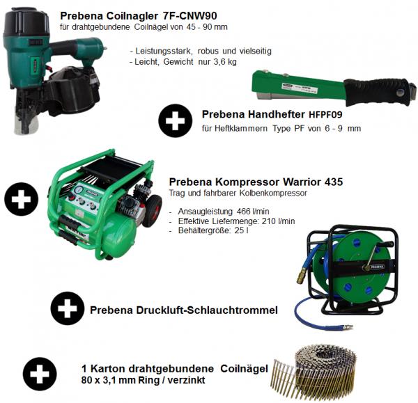 Prebena Set / Coilnagler + Kompressor + Schlauchrolle + Handhefter + Coilnägel